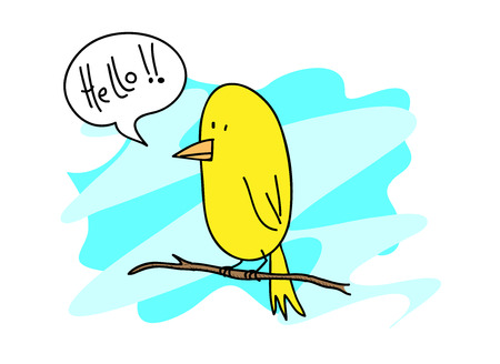 Canary Bird, A hand drawn vector illustration of a cute canary bird standing on a twig editable. Vectores