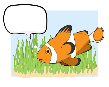 clownfish: Clownfish With Text, a hand drawn vector illustration of a clownfish with text, isolated on water habitat-themed background editable.