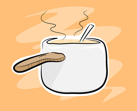 broth: Cooking Pot, a hand drawn vector of a cooking pot, isolated on a simple background the main sketch, colors, white outline, and the background are on their own separate groups for easy editing.