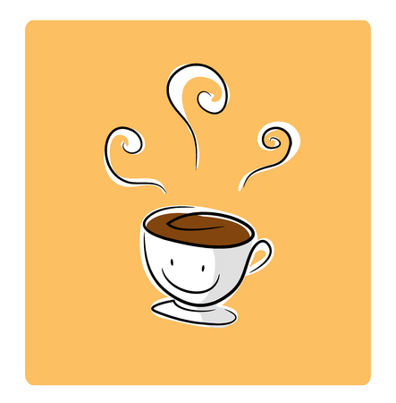 white sugar: Coffee Break Icon, a hand drawn vector illustration of a cup of coffee, isolated on a white background, all objects are on their own separate groups including background for easy editing. Illustration