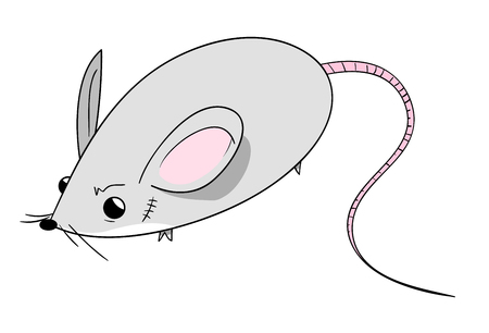 scar: Cute Mouse, a hand drawn vector illustration of a cute mouse with a scar on its face, isolated on a white background editable. Illustration