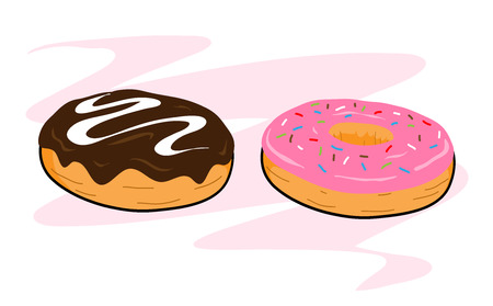 Donuts, a hand drawn vector illustration of chocolate and sugar glazed donuts, isolated on a simple background editable. Illusztráció
