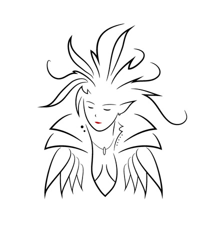 elven: Elven Queen, a hand drawn vector illustration of an elven queen, isolated on a white background. Illustration