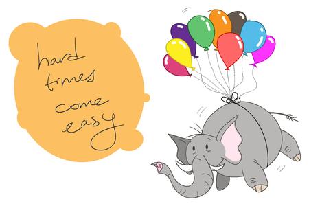 編集可能なカラフルな風船に接続されている象の手描きベクトル イラスト風船と象