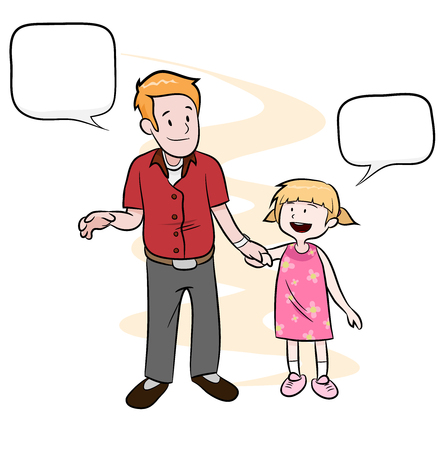 father daughter: Father  Daughter, a hand drawn vector illustration of a father and a daughter holding hands, main objects, text boxes, and background are on their own separate groups for easy editing.