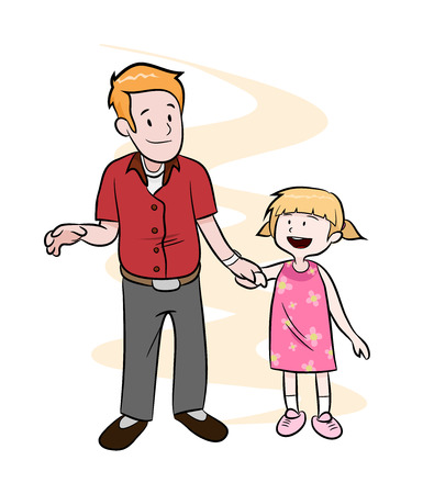 happy fathers day: Fatherhood, a hand drawn vector illustration of a father and a daughter holding hands over a simple background editable. Illustration