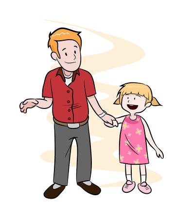 paternidade: Paternidade, uma ilustração do vetor tirada mão de um pai e uma filha de mãos dadas ao longo de um fundo simples editável. Ilustração