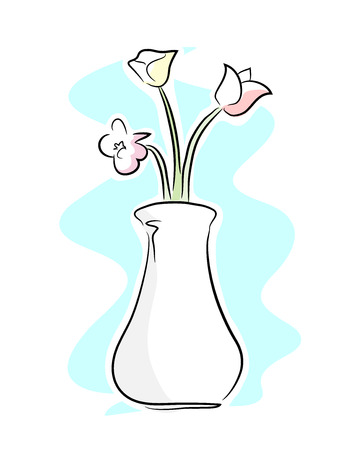 flower vase: Flower Vase, a hand drawn vector illustration of a flower vase, isolated on a simple background editable.