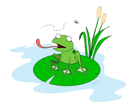 lilypad: Frog On A Lilypad,A hand drawn vector illustration of a frog sitting on a leaf of water lily trying to eat the bee all objects including background are on separate groups for easy editing.