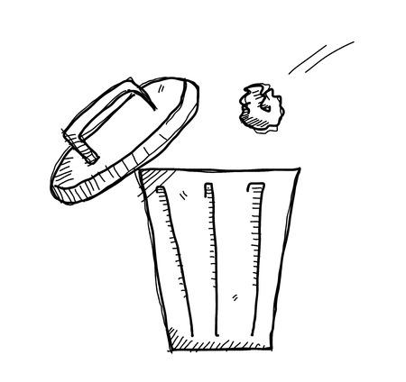 basura: Tacho de la basura del Doodle, una ilustración vectorial doodle mano de una basura que se tira en el interior del cubo de la basura. Vectores