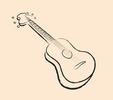 jazzy: Guitar Doodle, a hand drawn vector illustration of a guitar in black line without fill, isolated on a simple background editable.