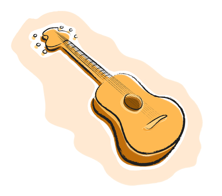 jazzy: Guitar, a hand drawn vector illustration of a guitar, all of the illustration elements are on their own separate groups for easy editing.
