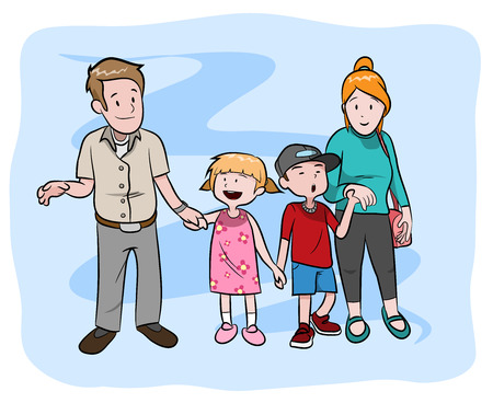 happy fathers day: Happy Family, a hand drawn vector illustration of a happy family, isolated on a simple background editable.