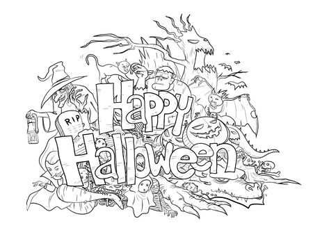 Happy Halloween Doodle black  white, a hand drawn doodle illustration of Happy Halloween theme in black  white, filled with Halloween themed creatures and characters. Vectores