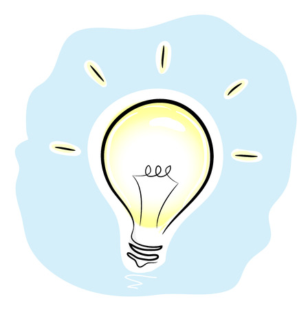mere: Idea, a hand drawn illustration of a metaphoric symbol of a fresh idea, a state of mind, or could be used as a mere illustration of a light bulb, all parts are editable. Illustration