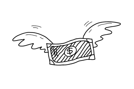 hand drawn wings: Inflation Doodle, a hand drawn vector doodle illustration of a money with wings soaring up high.