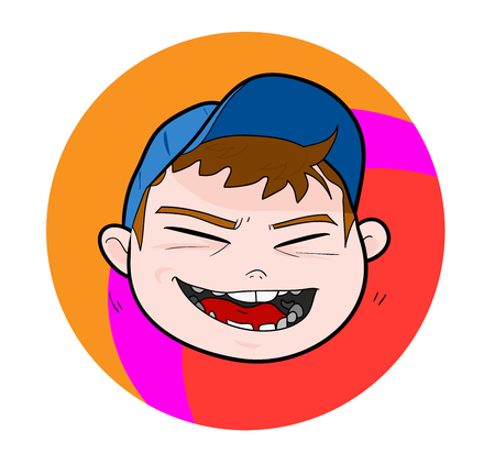 Kid With Cap laughing expression, a hand drawn vector illustration of a kid wearing blue cap with laughing expression editable.