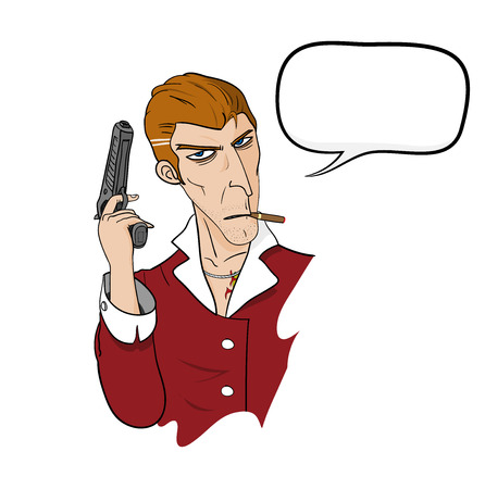 Mafia With Text, a hand drawn vector illustration of a mafia holding a hand gun and smoking a cigar, and a blank dialogue box easily removable.
