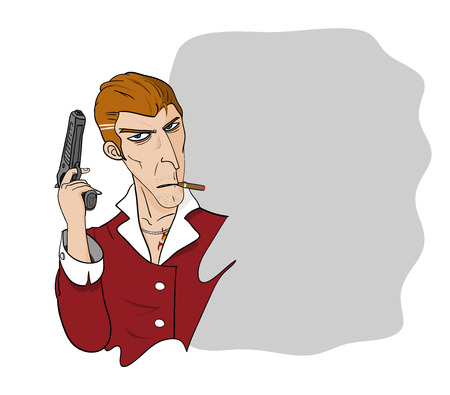 godfather: Mafia, A hand drawn vector illustration of a mafia holding a gun with a blank, editable space for text. Illustration