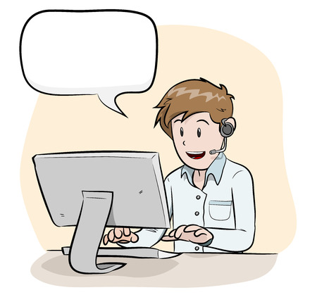 phone call: Male Operator With Text, a hand drawn vector illustration of a male operator handling customers via phone call, isolated on a simple background editable. Illustration