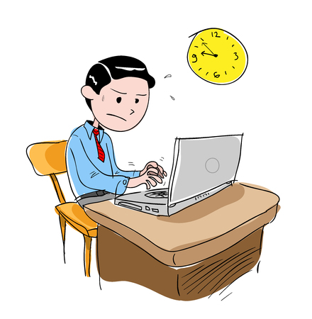 working overtime: Man Working Overtime, a hand drawn vector illustration of a man working overtime, isolated on a white background editable.