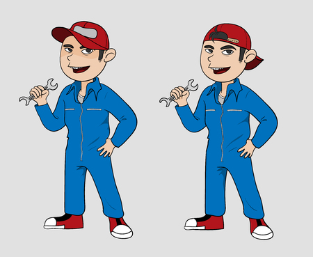 cartoon mascot: Mechanic, A hand drawn vector illustration of a mechanic in 2 varieties editable. Illustration