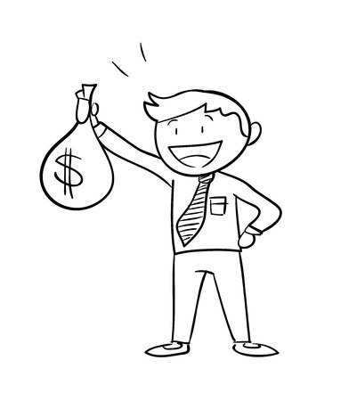 man holding money: Man Holding Money Bag Dollar, a hand drawn vector illustration of a business man holding a money bag with dollar sign on it.