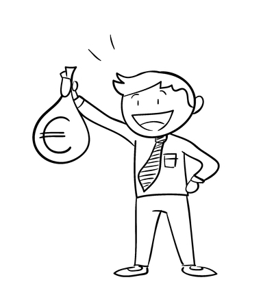 man holding money: Man Holding Money Bag Euro, a hand drawn vector illustration of a business man holding a money bag with Euro sign on it. Illustration