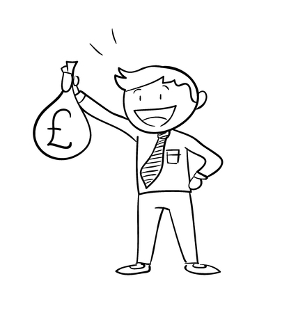 man holding money: Man Holding Money Bag Pound, a hand drawn vector illustration of a business man holding a money bag with Pound Sterling sign on it. Illustration