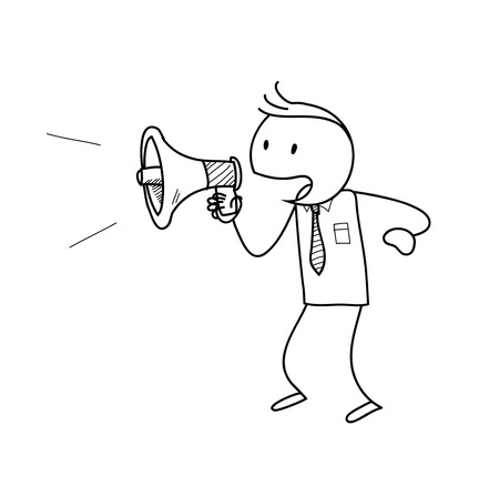 announcing: Marketing Announcement, a hand drawn vector illustration of a stick figure with a megaphone announcing something.