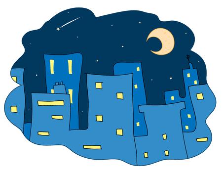真夜中の都市、夜では、都市の建物の手描きのベクトル イラスト星と月飾られています。