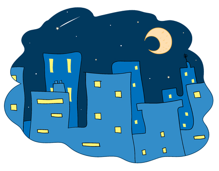 Midnight City, a hand drawn vector illustration of city buildings at night,decorated with stars and the moon.