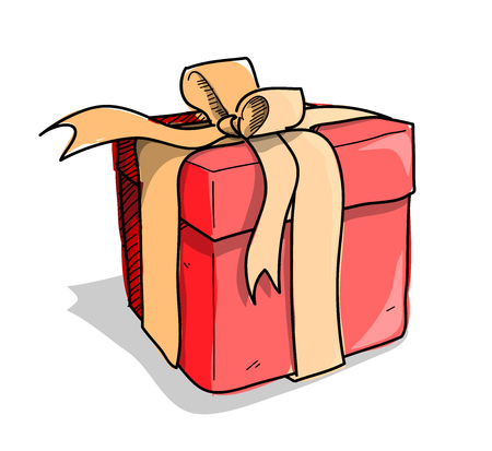presents: Present, a hand drawn vector illustration of a present, could be used for birthday gift or Christmas project.
