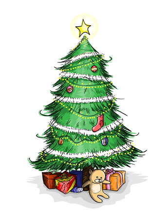 christmas tree presents: Christmas Tree, a hand drawn vector illustration of a Christmas tree with Christmas presents placed under it.