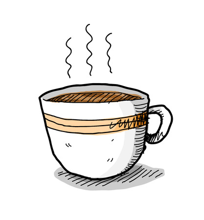 cappucino: Hot Coffee, a hand drawn vector illustration of a cup of steaming hot coffee. Illustration