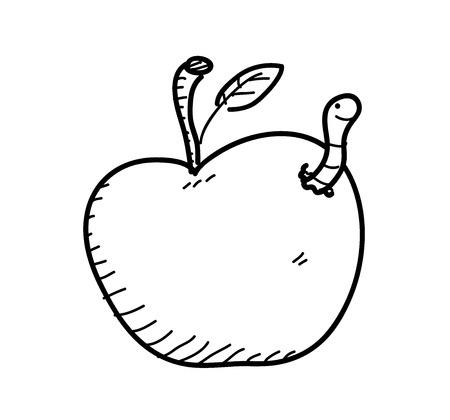 gusano caricatura: Manzana Worm Doodle, una ilustraci�n vectorial garabato dibujado a mano de una manzana con gusano en ella.