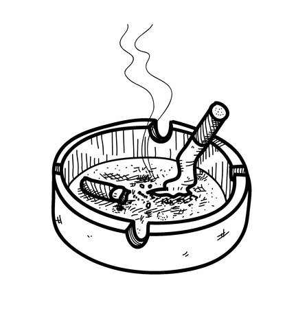ashtray: Ashtray Doodle, a hand drawn vector doodle illustration of an ashtray with cigarettes inside, the smoke from the cigar are editableremovable.