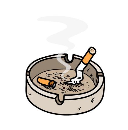 Ashtray, a hand drawn vector illustration of an ashtray with cigarettes inside, the smoke from the cigar are editableremovable.