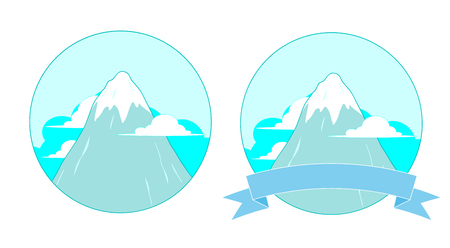 Snowy Mountain Logo, A vector illustration of a snowy mountain peak logo, available in 2 variations with and without banner, editable. Illustration