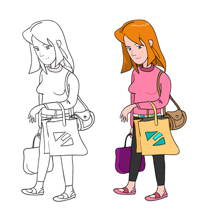no color: Woman Shopping, a hand drawn vector illustration of a woman shopping in 2 variations full color  no color.