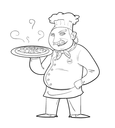 pizza chef: Pizza Chef Doodle, a black  white hand drawn vector illustration of a chef holding a pan of pizza.