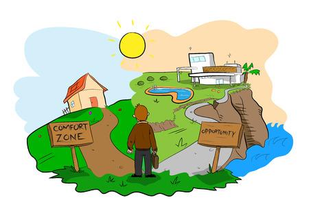 Comfort Zone vs Gelegenheit, über die Wahl zwischen einem Aufenthalt in der Komfort-Zone oder das Risiko eingehen, den mühsamen Weg der Möglichkeit, die größere und bessere Leistung und Erfolg gewährt. Standard-Bild - 48142827