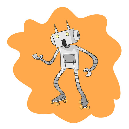 roller blade: Skating Robot, a hand drawn vector illustration of a robot wearing roller blades, isolated on a simple background editable. Illustration