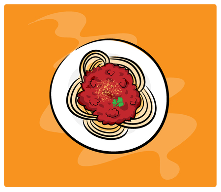 spaghetti: Spaghetti, a hand drawn vector illustration of delicious spaghetti, isolated on a simple background editable.