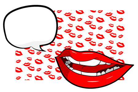 Sexy Lips With Text, a hand drawn vector illustration of sexy lips with text over lips-themed background editable.
