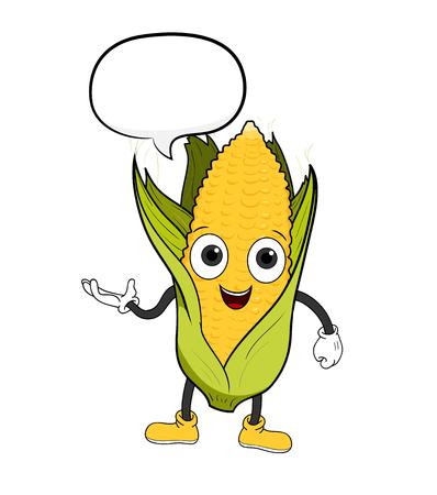 Cartoon Corn With Text, a hand drawn vector illustration of a cartoon corn with text.