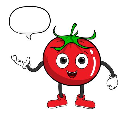 Tomato Cartoon avec le texte, une illustration de vecteur tiré par la main d'une tomate de bande dessinée avec le texte. Vecteurs