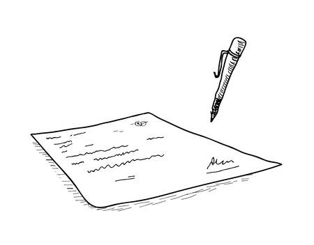 contract signing: Contract Signing Doodle, a hand drawn vector doodle illustration of a contract being signed with a pen.