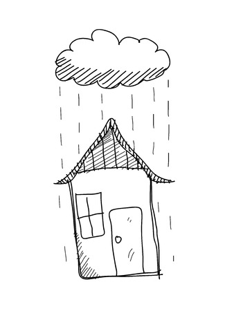 business symbols metaphors: Rainy Day Doodle, a hand drawn vector doodle illustration of rain pouring down a house. Illustration
