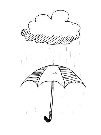 rainy day: Umbrella On A Rainy Day Doodle, a hand drawn vector doodle illustration of an umbrella protecting on a rainy day. Illustration